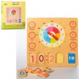 Деревянная игрушка Часы-вкладыши с табло MD 2250