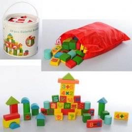 Деревянная игрушка Городок математика 50 деталей сортер MD 2279 в ведре