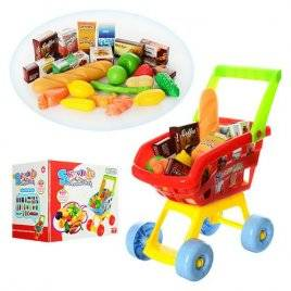 Тележка детская для супермаркета с продуктами 23001 А