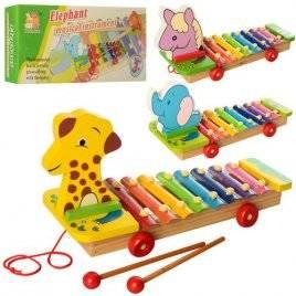 Деревянная игрушка Ксилофон-каталка 8 тонов MD 2337