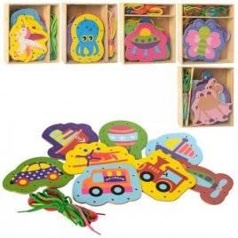 Деревянная игрушка Шнуровка 6 видов MD 2352