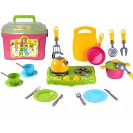 Кухня детская с посудкой в чемоданчике Кухонный набор 8 Технок 2407