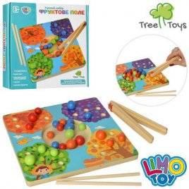 Деревянная игра  Фруктовое поле с щипцами и шариками MD 2449