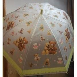 Зонт-трость прозрачный полуавтомат 25584 Мишки желтый