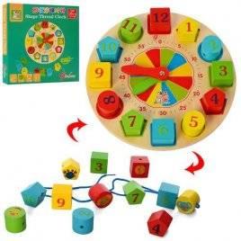 Деревянная игрушка часы-сортер + шнуровка  MD 2606