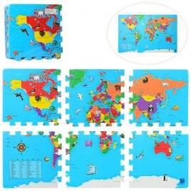 Коврик пазл текстурный Карта мира 2612