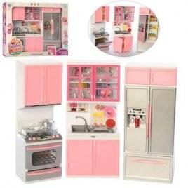 Мебель для куклы Кухня розовая 3 секции QF26210P