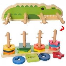 Геометрика на штырьках деревянная пирамидка-ключ логическая Крокодил 2759