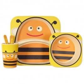 Посуда детская бамбук Пчелка 5 предметов MH-2770-3