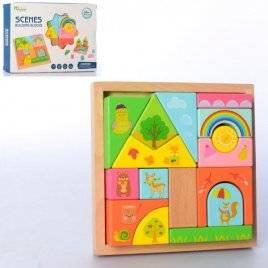 Деревянная игрушка Городок фигуры в пенале MD 2779