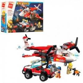 Конструктор пожарный самолет+джип 369 детали 2805Qman