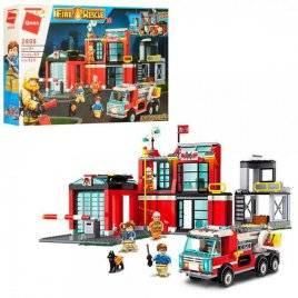 Конструктор пожарный участок+машина 523 детали 2808 Qman