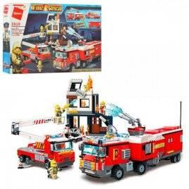 Конструктор пожарное здание+машины 996 деталей 2810 Qman