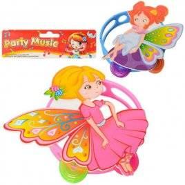 Бубен пластиковый Бабочка 2818