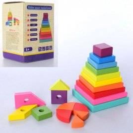 Деревянная игрушка Пирамидка 20 геометрических фигур MD 2824