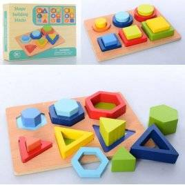 Геометрика  деревянная игрушка 12 фигур MD 2830