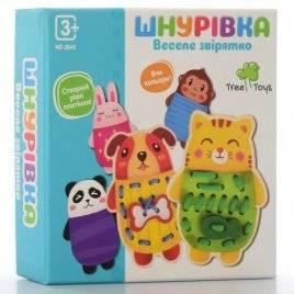 Деревянная игрушка Шнуровка  животные 5 штук MD 2849