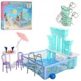 Мебель для кукол Бассейн + столик, стулья, фонтан 2878 Gloria