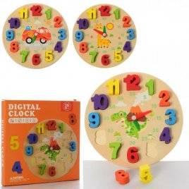 Деревянная игрушка Часы рамка-вкладыш MD 2898