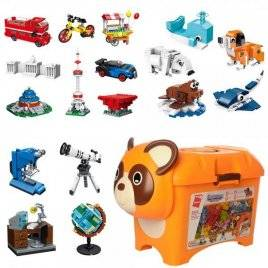 Конструктор  в чемоданчике Медвежонок с кубиками 1155 деталей 2906 Qman