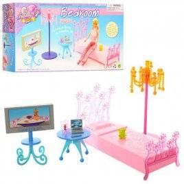 Мебель для кукол Спальня кровать+журнальный столик, телевизор 2914 Gloria
