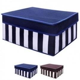 Ящик ПВХ для хранения вещей в полоску коричневый Котон 30*20*15см R15766