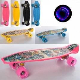 Скейт со светящимися колесами алюминиевая подвескаABEC7 MS 3003