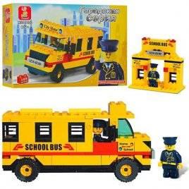 Конструктор Автобус школьный желтый 105 деталей аналог Lego B100 Sluban