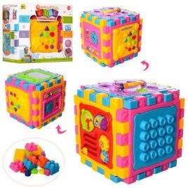 Развивающая игра куб с досточкой для рисования и часами BB321A