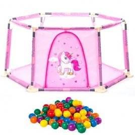 Сухой бассейн Манеж для детей розовый Единорог RE333-11