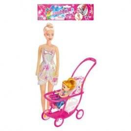 Кукла с ребенком и коляской 339-1/2214