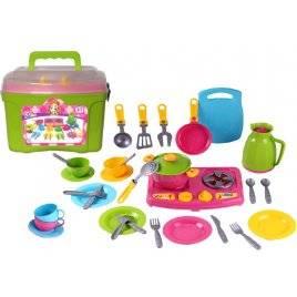 Кухня детская с посудкой набор 9 в чемоданчике 3596