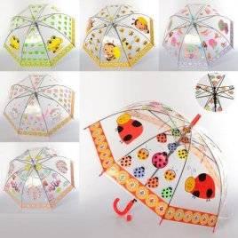 Зонт прозрачный детский со свистком животные и насекомые MK 3619-1