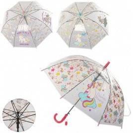 Зонт прозрачный детский  Радужный Единорог MK 3620-1