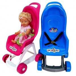Коляска кукольная сидячая с ремнями безопасности для куклы 37-001 Киндервей