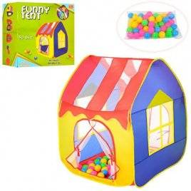 Палатка домик с крышей + шарики 50 штук M 3757