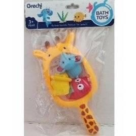 Игрушка для купания  жираф-сачок+ животные G402-1