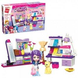 Конструктор для девочек комната с мебелью и фигуркой 122 детали 4102-2 Qman