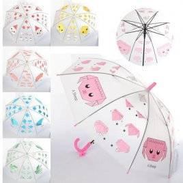 Зонт прозрачный детский мордочки со свистком MK 4114