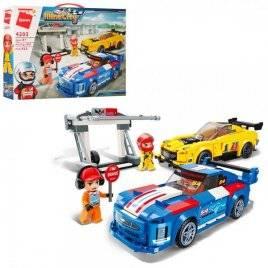 Конструктор пит-стоп+2 машины и фигурка 423 детали 4203 Qman