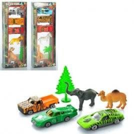 Набор машинок  металлических с фигурками животных 3+2 422927