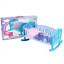 Кроватка для куклы пластмассовая с полозьями и постелью Колыбель 4524 ТехноК