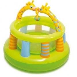 Надувной детский манеж-батут круглый Жирафики 48474 Intex