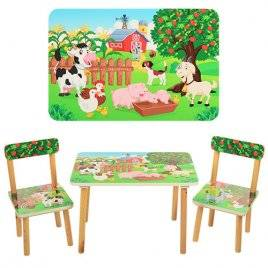 Детский стол и 2 стула Ферма или Зоопарк 501-10-11 Vivast, Украина