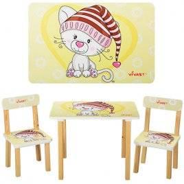 Детский стол и 2 стула желтые Котенок в шапке или Жираф 501-17-15 Vivast, Украина