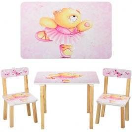 Детский стол и 2 стула для девочки розовые 501-2-23 Vivast, Украина