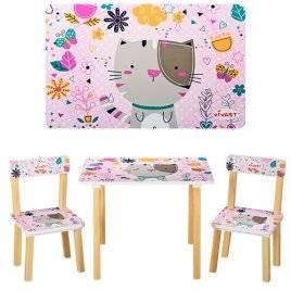 Детский стол и 2 стула розовыq Котик 501-5 Vivast, Украина