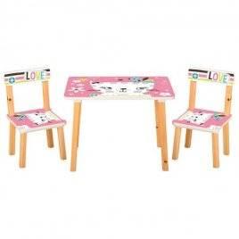Детский стол и 2 стула Кошка на розовом фоне 501-58-1