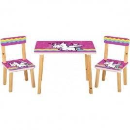 Детский стол и 2 стула   Единорог розовый фон 501-64/65