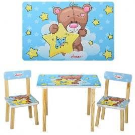 Детский стол и 2 стула голубые Мишка и звездочка 501-8 Vivast, Украина